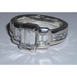 3.51 carats gold EMERALD diamond engagement ring n